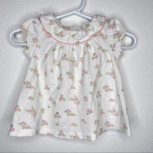Sweet classic floral ruffle collar baby shirt 3mo